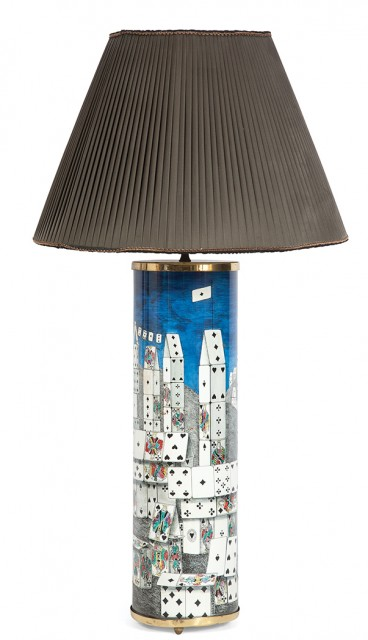 Piero Fornasetti Lithographic Transfer Printed Metal Citta di Carte Lamp. Estimate: $1,000-1,500. Lot 247 / Auction June 7