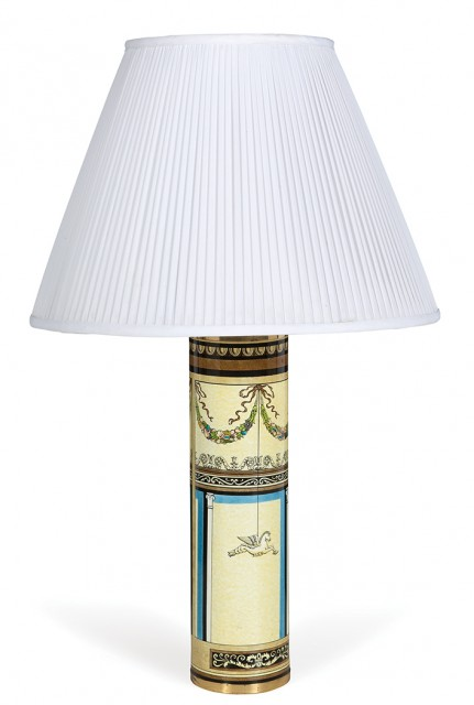 Piero Fornasetti Lithographic Transfer Printed Metal Pompeiana Lamp. Estimate: $700-1,000. Lot 248 / Auction June 7