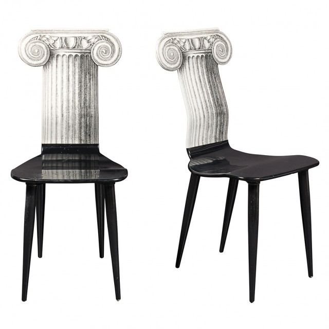 Pair of Piero Fornasetti Lithographed and Lacquered Molded Wood Capitello Jonico Chairs. Estimate: $2,000-3,000. Lot 249 / Auction June 7