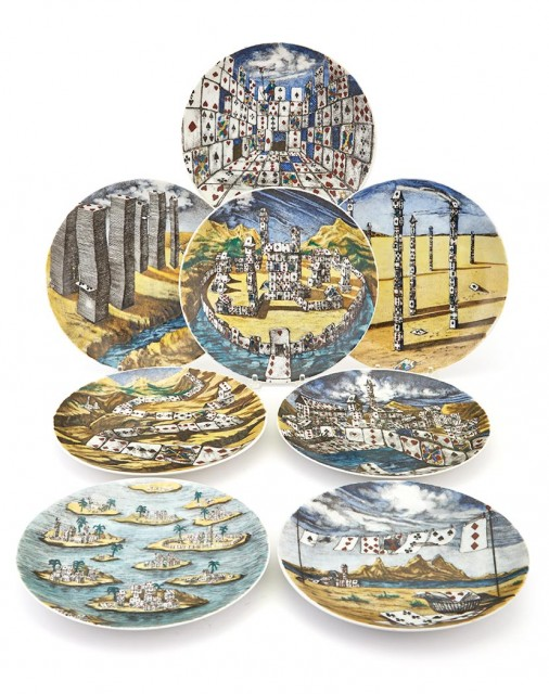 Set of Ten Piero Fornasetti Transfer Decorated Citta di Carte Porcelain Plates. Made for Tiffany & Co. Estimate: $1,000-1,500. Lot 250 / Auction June 7