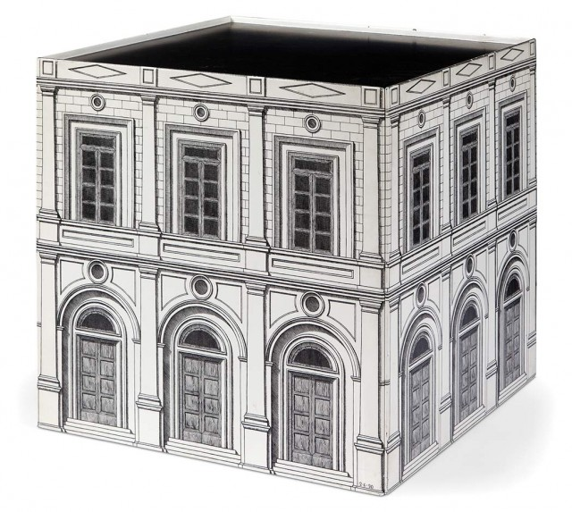Piero Fornasetti Lithographic Transfer Printed Metal Architettura Single-Drawer Cube Table. Estimate: $2,000-3,000. Lot 253 / Auction June 7
