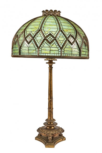 Tiffany Studios Gilt-Bronze and Leaded Favrile Glass Oversize Table Lamp Commissioned for Henry J. Hardenbergh's Hotel Manhattan, circa 1897. Height overall 53 3/4 inches. Lot 325 / Auction June 7