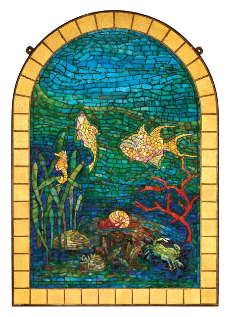 Tiffany Studios Bronze Framed Favrile Glass Mosaic Panel. Est. $100,000-150,000. Lot 326 / Auction June 7