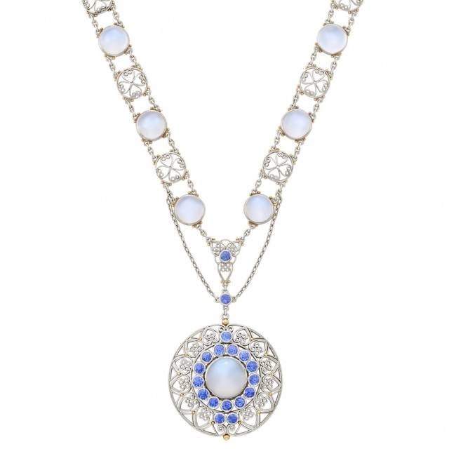 Platinum, Gold, Moonstone and Sapphire Necklace, Tiffany & Co., by Louis Comfort Tiffany, circa 1915.