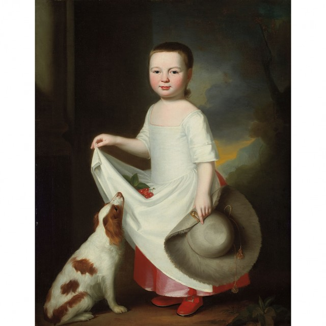 George Romney, Girl with a Dog, Holding a Bonnet, with Cherries in Her Apron. Sold on January 29, 2014.