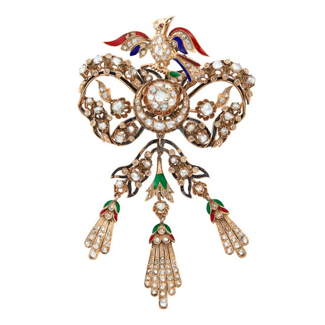 Antique Gold, Enamel and Diamond 'En Tremblant' Brooch, early 19th century. Est. $1,200-1,800. Lot 299 / Auction May 22 / Beverly Hills