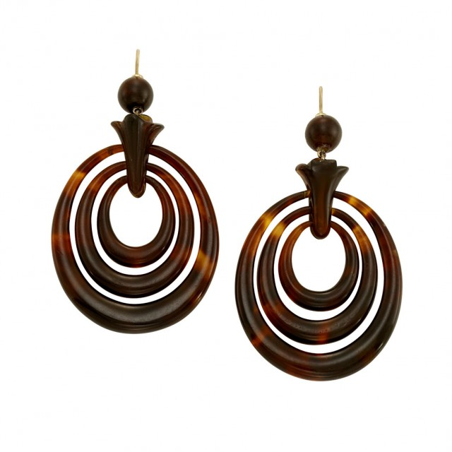 Lot 102. Pair of Antique Tortoise Shell Pendant-Earrings.  Est. $400-600