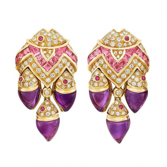 Lot 308. Pair of Gold, Diamond, Pink Sapphire, Cabochon Amethyst and Ruby Fish Earclip. Est. $3,500-4,500