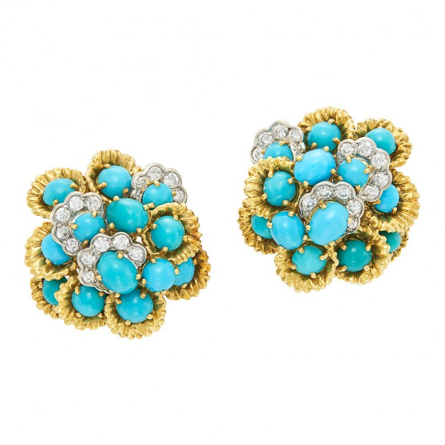 Lot 344. Pair of Gold, Platinum, Turquoise and Diamond Earclips, France. Est. $1,000-1,500