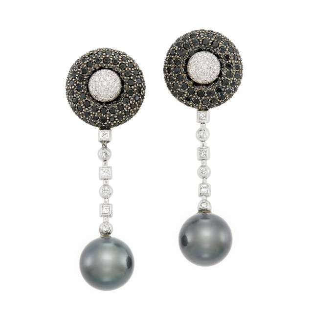 Lot 381. Pair of White Gold, Tahitian Black Cultured Pearl, Black Diamond and Diamond Pendant-Earrings. Est. $800-1,200