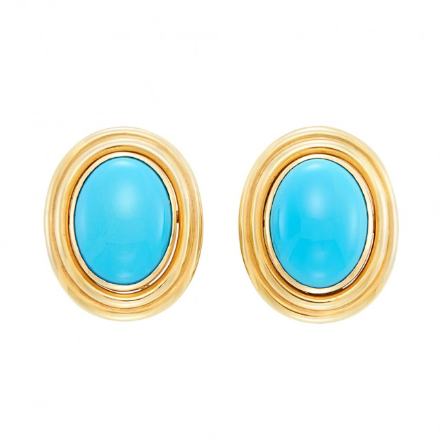 Lot 480. Pair of Gold and Turquoise Earclips. Est. $400-600