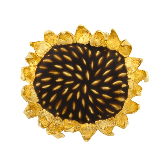 Lot 592. Gold and Enamel Sunflower Brooch, Angela Cummings. Est. $2,000-3,000