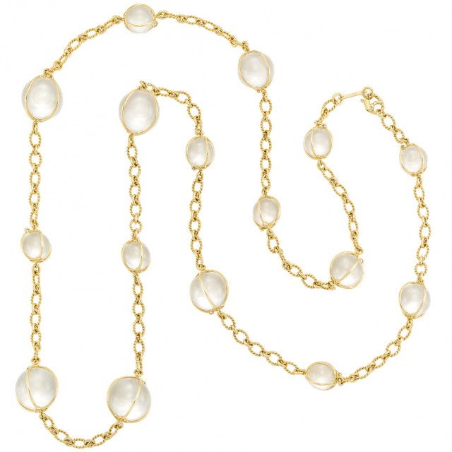 Lot 651. Long Gold and Rock Crystal Bead 'Bubbles' Chain Necklace, Verdura.  Est. $5,000-7,000