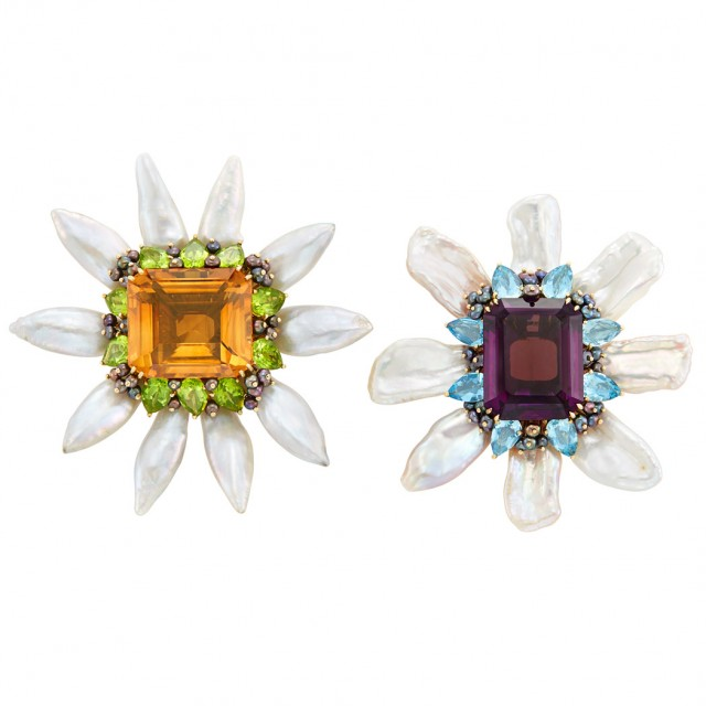 Lot 664. Pair of Gold, Freshwater Pearl and Gem-Set Flower Clip-Brooches, Valentin Magro. Est. $2,000-3,000