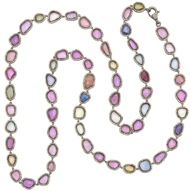 Lot 68. Long Silver, Multicolored Sapphire and Diamond Necklace. Est. $3,000-4,000