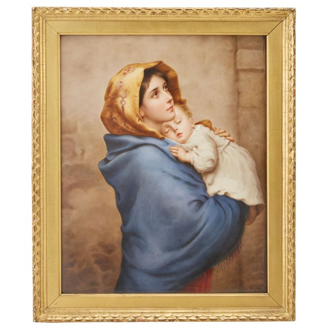 KPM Painted Porcelain Plaque of Madonna of the Streets, After Roberto Ferruzzi, late 19th/early 20th century. Sold for $7,500.