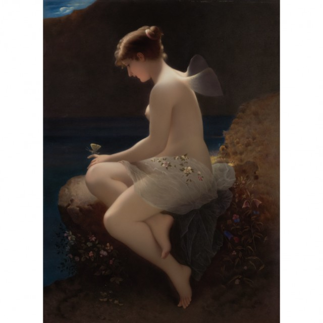 Framed KPM Painted Porcelain Plaque of Psyche, After Wilhelm Kray, late 19th/early 20th century. Sold for $37,500.