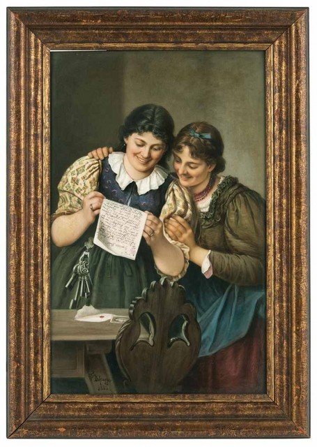 KPM Painted Porcelain Plaque of Two Women Titled in German Sepp's erster Brief (Joseph's First Letter), After Franz bon Defregger, last quarter of the 19th century. Sold for $3,437.