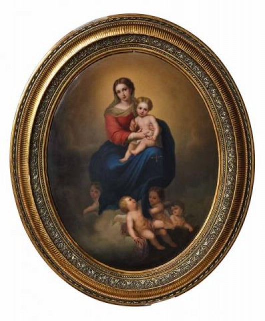 KPM Painted Porcelain Plaque of the Madonna of the Rosary, After Bartolome Estebar Munillo, late 19th/early 20th century. Sold for $3,750.