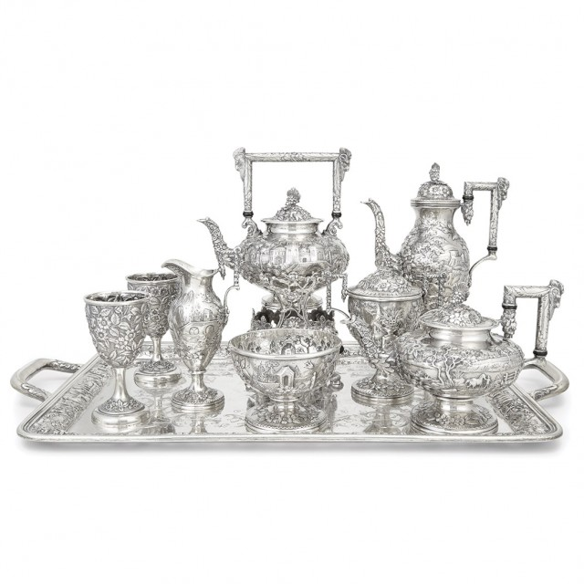 S. Kirk & Son Co. Sterling Silver Tea Service, Circa 1896-1925. Sold for $21,250.