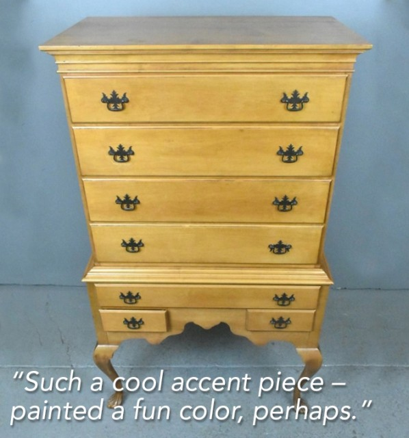 Lot 280. American Chippendale style maple highboy. Starting bid $45