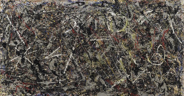 Jackson Pollock Alchemy, 1947 Oil, aluminum, alkyd enamel paint with sand, pebbles, fibers, and broken wooden sticks on canvas, 114.6 x 221.3 cm The Solomon R. Guggenheim Foundation, Peggy Guggenheim Collection, 1976 © 2017 The Pollock-Krasner Foundation/Artists Rights Society (ARS), New York
