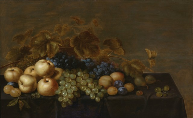 Floris van Schooten (Dutch, 1590-1655), Still Life with Grapes, Plums and other Fruit on a Table