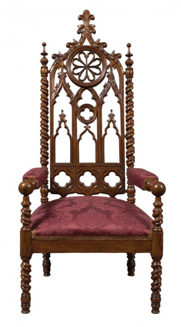 American Gothic Revival Oak Library Armchair, Attributed to John and Joseph W. Meeks, New York, circa 1850. Est. $3,000-5,000 Lot 274. Auction Oct 4
