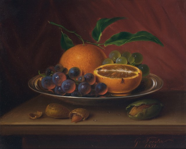 George E. Forster (1817-1896), Still Life with Fruit, Nuts and Fruit Flies, 1871. Est. $2,500-3,500. Lot 64. Auction Oct 4
