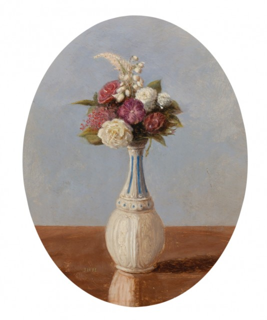 John William Hill (1812-1879), Flowers in a Milk Glass Vase. Est. $1,200-1,800. Lot 66. Auction Oct 4