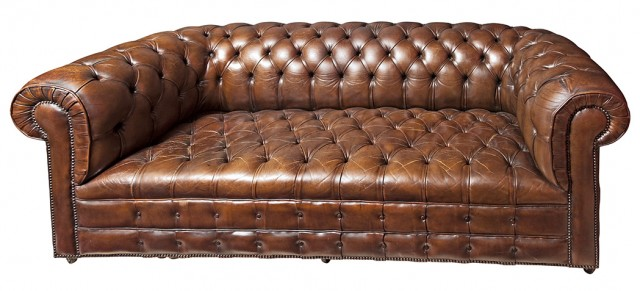 Faux Leather Upholstered Chesterfield Sofa. Est. $800-1,200. Lot 132.
