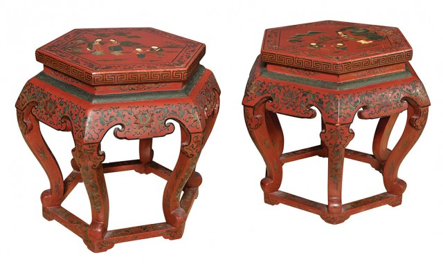 Pair of Chinese Red Lacquered Hexagonal Low Side Tables. From the Estate of Aileen Pei. Est. $400-600. Lot 344.