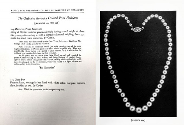 Lot 114. The pearls were offered as two lots in the sale.