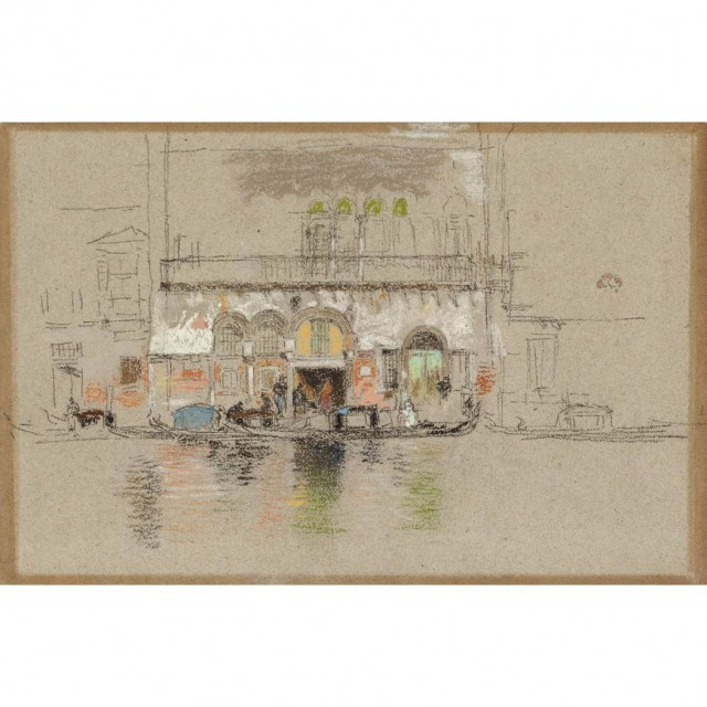 James Abbott McNeill Whistler (1834-1903), White and Pink (The Palace). Sold for $650,500. An Auction Record for a Work on Paper by Whistler.