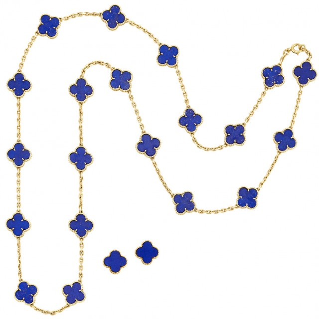 Long Gold and Lapis Lazuli 'Alhambra' Necklace and Pair of Earrings, Van Cleef & Arpels, France. Sold for $31,250.
