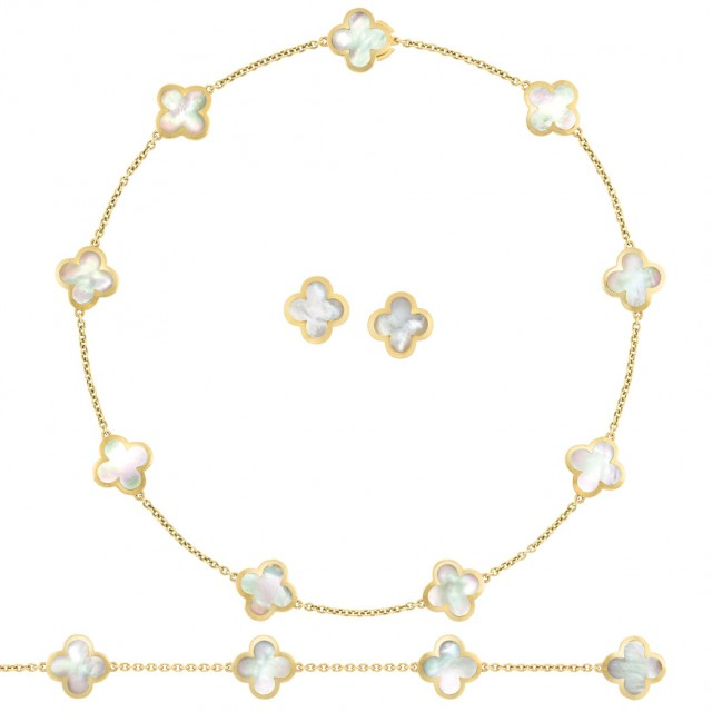Gold and Mother-of-Pearl 'Alhambra' Necklace/Bracelet Combination and Pair of Earrings, Van Cleef & Arpels. Sold for $22,500.