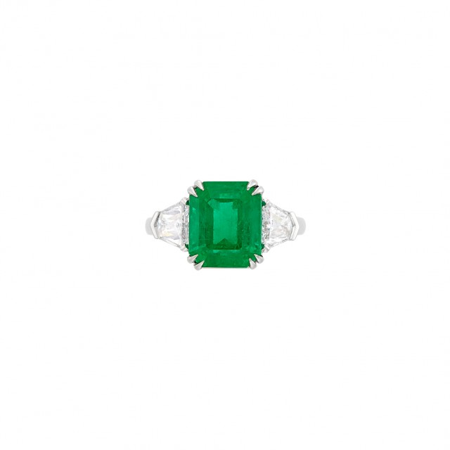 Platinum, Emerald and Diamond Ring. Est. $25,000-35,000. Auction Nov 13 in Beverly Hills