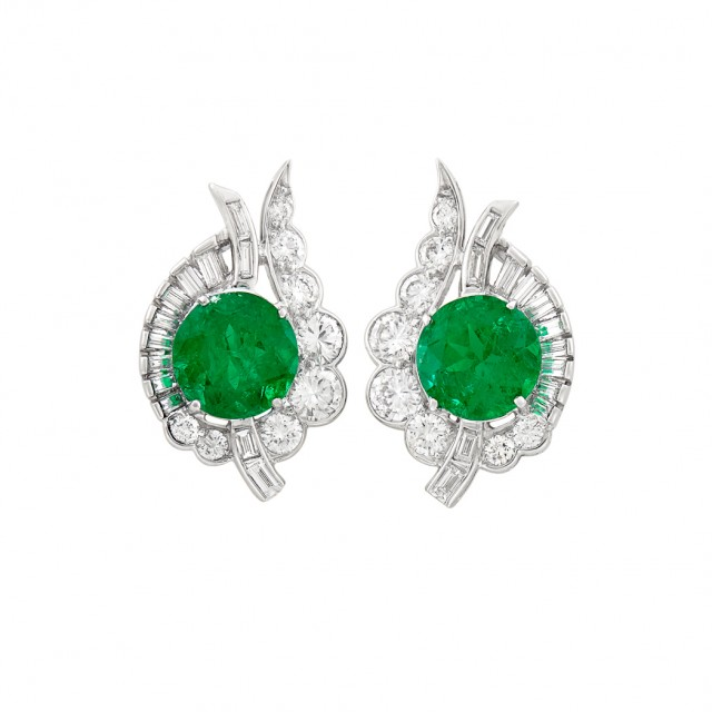 Pair of Platinum, Emerald and Diamond Earrings. Estimate: $25,000-35,000. Auction Nov 13 in Beverly Hills