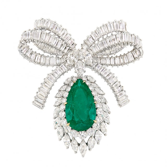 Platinum, Emerald and Diamond Bow Brooch. Est.$125,000-175,000.Lot 511. Auction Oct 18