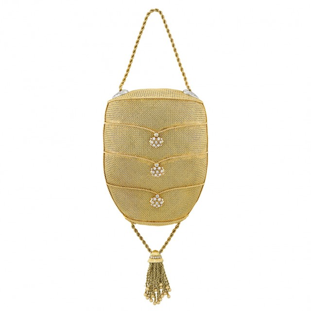 Gold, Platinum and Diamond Tassel Purse with Gold Chain Necklace, Van Cleef & Arpels. Est. $30,000-60,000. Lot 455. Auction Nov 13 in Beverly Hills.