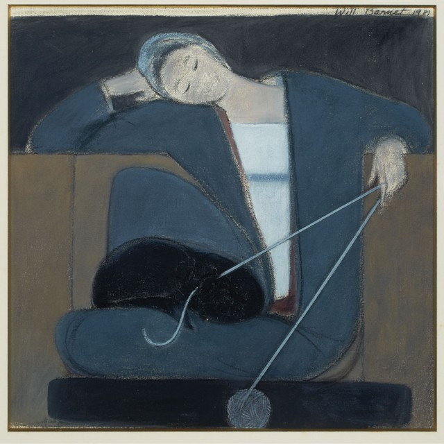 Will Barnet, Study for Woman Cat and Yarn/Untitled, Study with Cat, Bird and Ball, 1981. Sold in November 2014.
