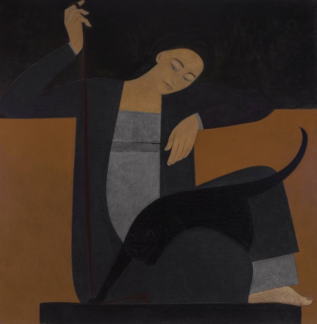 Will Barnet, Woman, Cat and String, 1962. Est. $60,000-80,000. Lot 125. Auction Nov 15.