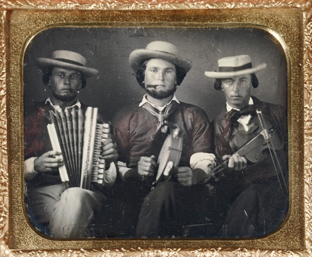 Two sixth-plate daguerreotypes of musicians, circa 1855. Est. $1,000-1,500. Lot 25. Auction Dec 14