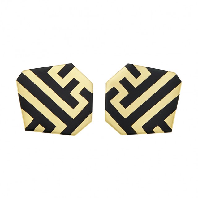 Pair of Gold and Black Jade Earclips, Angela Cummings. Sold for $3,437.