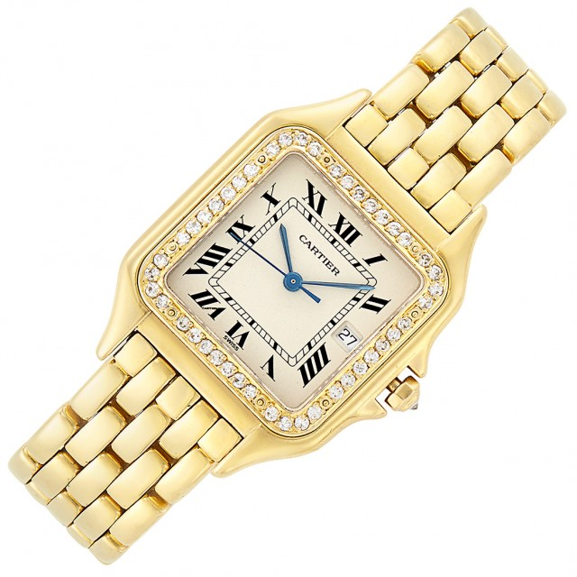 Gold and Diamond 'Panther' Wristwatch, Cartier. Sold for $8,125