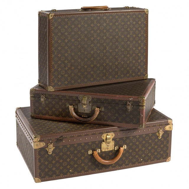 Three Louis Vuitton Hard Case Suitcases, one monogrammed. Auction Feb 14. Est. $400-600. Sold for $4,062.