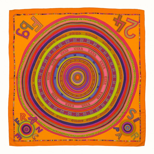 Silk and Cashmere 'Tohu Bohu' Scarf, by Claudia Stuhlhofer-Mayr, Hermès, Paris and 'Tout en Carré' Scarf, Hermès, Paris. Sold for $1,750.
