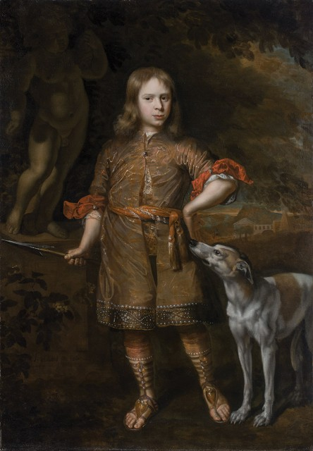Jacques Vaillant, Portrait of a Boy as a Hunter, Holding a Boar Spear, with his Greyhound. Lot 33. Auction Jan 31.