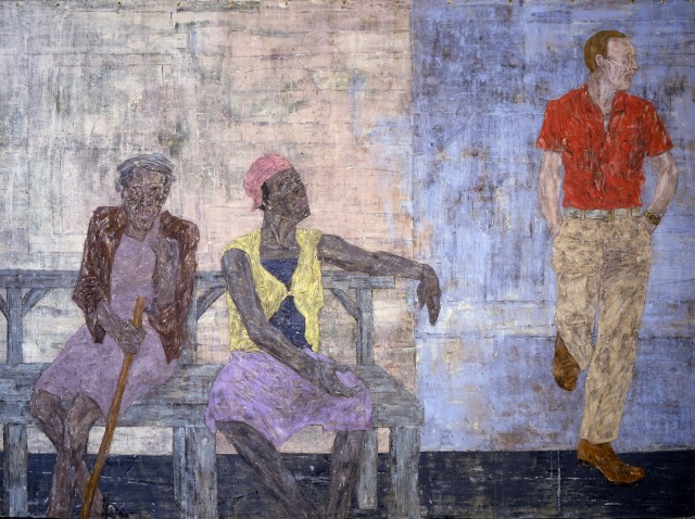 Leon Golub, Two Black Women and a White Man, 1986