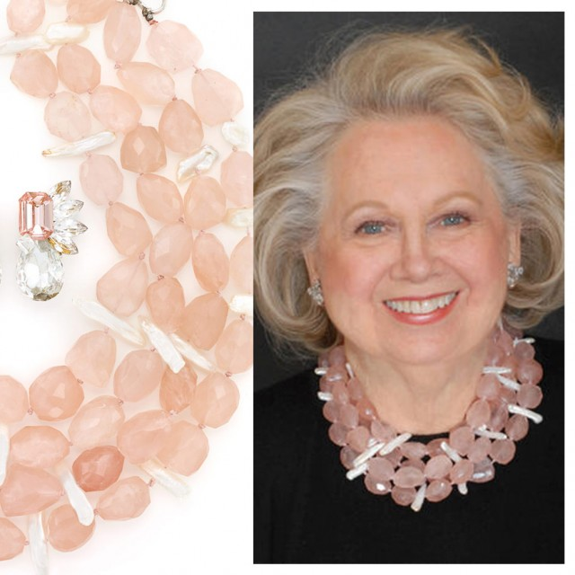 Rose Quartz and Freshwater Pearl Necklace and Pair of Metal and Rhinestone Earclips. Sold for $687.